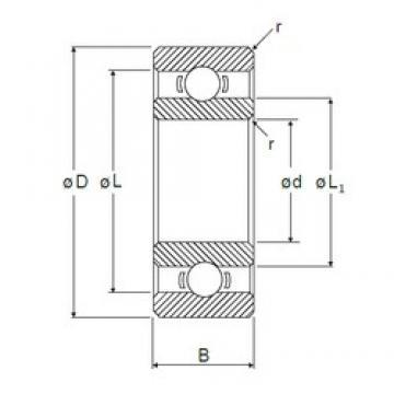 12 mm x 21 mm x 5 mm  NMB L-2112 deep groove ball bearings